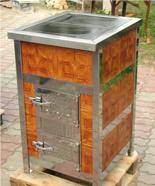 00350310 Piec grzewczy na węgiel 8kW Duży, drzwi chrom z płaszczem wodnym