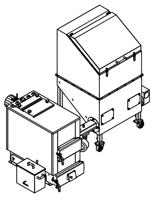 06652962 Automatyczny zestaw do spalania biomasy 2m3 400V 30kW, głowica: żeliwna, bez systemu usuwania popiołu (paliwo: trociny, wióry, zrębki, kora, brykiet, agrobrykiet, pellet, pestki owoców)