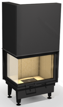 """48955111 Wkład kominkowy powietrzny 14kW ARYSTO 10 L """"DJ"""" H szyba podnoszona do góry, dopalanie spalin + rekuperacja (okno lewe bez szprosa, wymiar frontu: 670 + 450 x 510)"""