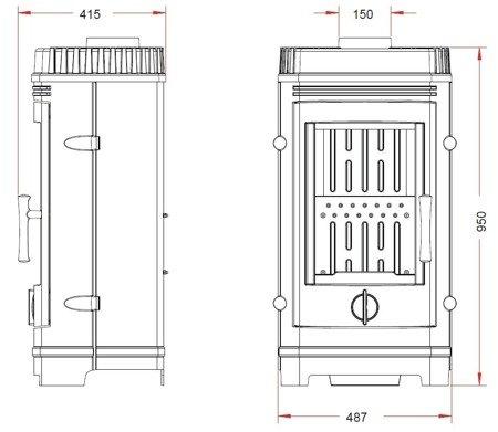 BINIKTA Piec wolnostojący Invicta 10kW Cassine (górna średnica wylotu spalin: 150mm, kolor: antracyt) spełnia anty-smogowy EkoProjekt 86854943