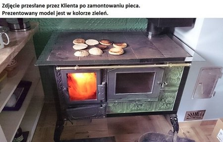 Kuchnia kaflowa, angielka 11kW Dominika z szybą, bez płaszcza wodnego (kolor: zieleń) 92238169