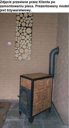 Piec grzewczy kaflowy 7,8kW Retro trzywarstwowy z szybą na drewno (kolor: brąz, wysokość: 76cm, wylot: 125mm) 92264204