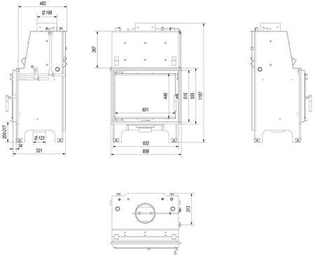 Wkład kominkowy 10kW AQUARIO Z10 PW GLASS z płaszczem wodnym, wężownicą (szyba prosta) - spełnia anty-smogowy EkoProjekt 30065525